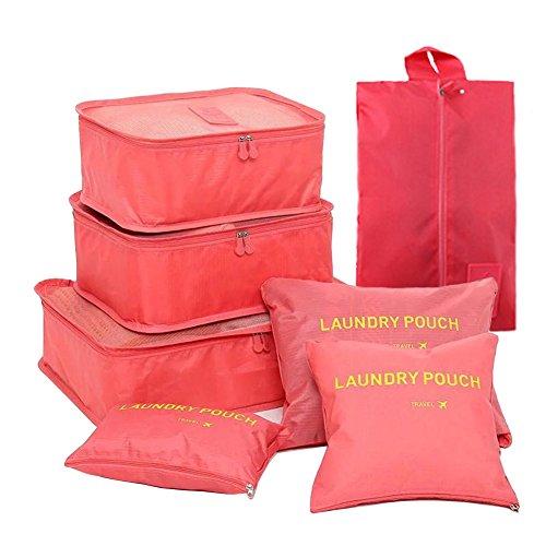 FunYoung Kleidertaschen-Set 7-teilig Reisetasche in Koffer Wäschebeutel Schuhbeutel Kosmetik Aufbewahrungstasche Farbwahl (Rosa)