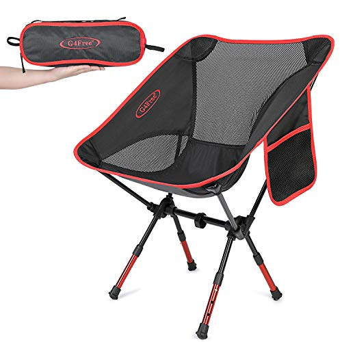 G4Free Upgraded Height Adjustable Camping Chairs, Portable Ultralight Folding Backpacking Chair Heavy Duty for Outdoor, Hiking, Picnic, BBQ with Carry Bag(Red)