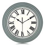 Lafocuse Relojes de Pared Clásico Verde Grisáceo Silencioso Números Romanos Reloj de Cuarzo Tradicional Decorativo para Cocina Salon Comedor 30cm