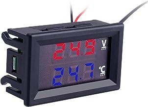 PEMENOL Termómetro y voltímetro digital para vehículos CC 5 V, 12 V, 24 V, 2 en 1, rojo y azul, pantalla dual digital, voltímetro con indicador LED y sensor de temperatura NTC resistente al agua