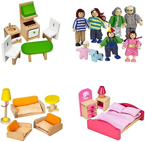 Dragon Drew Dollhouse Furniture Set – Wooden – Living Room, Bedroom and Kitchen Accessories, Family Members, Pet – 100% Natural Wood, Nontoxic Paint, Smooth Edges