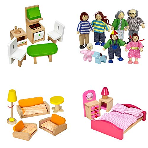 Dragon Drew Dollhouse Furniture Set - Wooden - Living Room, Bedroom and Kitchen Accessories, Family Members, Pet – 100% Natural Wood, Nontoxic Paint, Smooth Edges