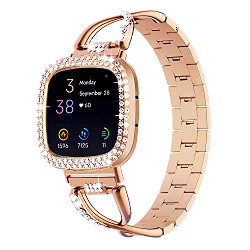 OMEE Correa de Metal compatible con Fitbit Sense/Versa 3, Women Girl Dressy Crystal Correa, Brillante Bling Bumper Frame Cover Accesorios para Fitbit Sense/Versa3 Smartwatch (Oro rosa)