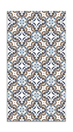 Panorama Alfombra Vinílica Hidráulico Oriental Azul 60x110 cm - Alfombra Cocina Vinilo - Alfombra Salón Antideslizante e Ignífuga - Alfombras Grandes - Alfombras PVC
