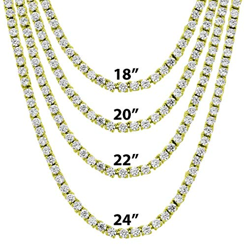 Mens 3mm Solitaire One Row Tennis Link Bling Choker Necklace 20 Inch Chain Hip Hop