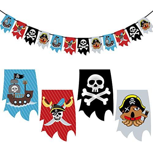 Oblique Unique Guirnalda de piratas para niños, decoración colgante para niños, decoración para fiestas de cumpleaños