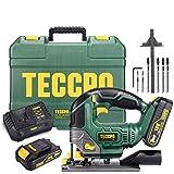 Seghetto Alternativo a Batteria, TECCPO Sega Elettrico Professionale, 2×2.0Ah Batterie 18...
