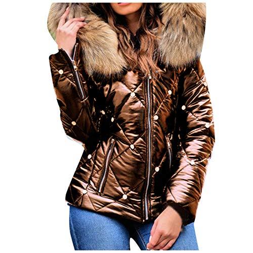 Pistazie Chaqueta con capucha para mujer, resistente al agua, con ribete de piel sintética, muy ligera, para invierno caqui XXXL