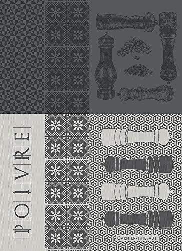 Garnier Thiebaut - Geschirrtuch, Trockentuch, Küchentuch - Poivrieres Noir - 56 x 77 cm - 100% Baumwolle
