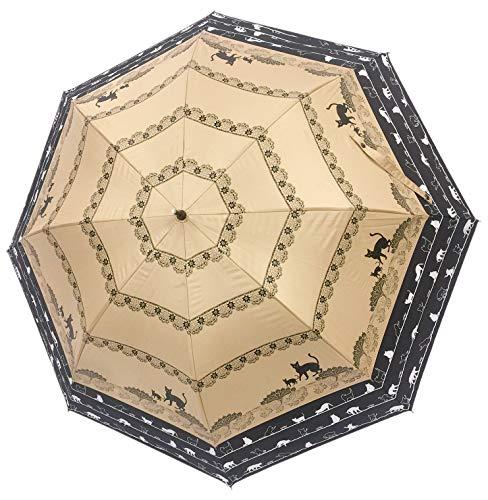 晴雨兼用傘 トランスフォーム傘 [ネコ柄/ベージュ×ブラック / 45cm~60cm ] 遮光率99.99% 日傘 雨傘 27019