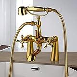 Conjunto de grifos de ducha de bañera dorada de latón...