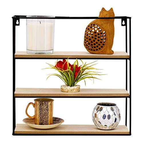 Nitaar - Estantería flotante cuadrada para colgar en la pared, con 3 estantes de madera, ideal para oficina, salón, cocina, baño, color negro