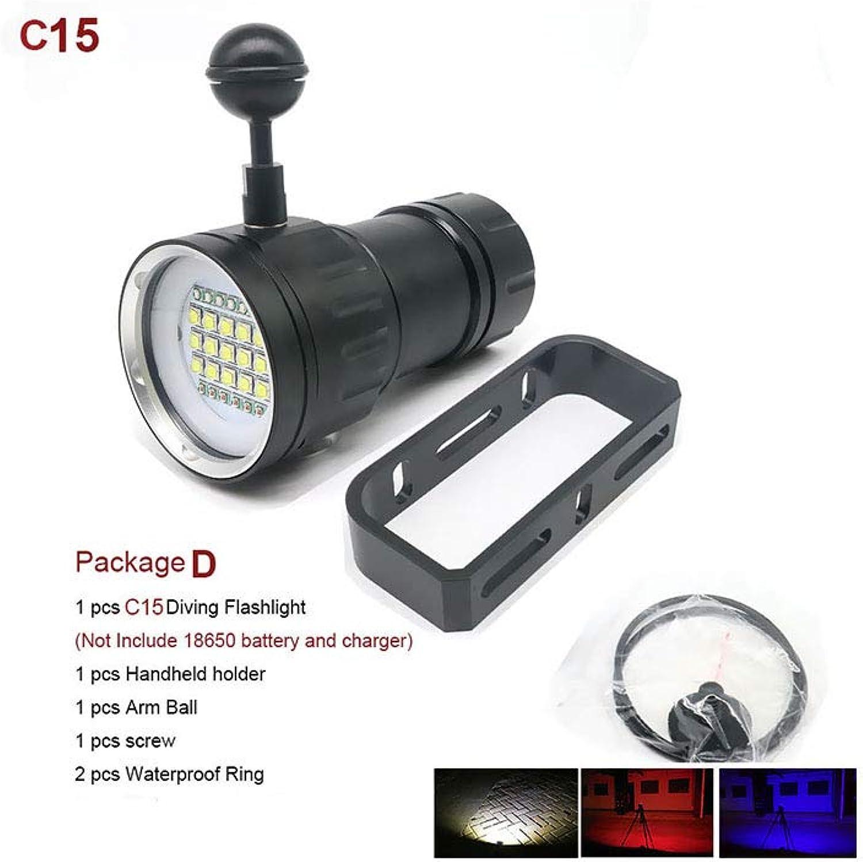 LED Tauchen Taschenlampe Unterwasser 80M XHP70   L2 Pography Videokamera Taschenlampe Blau + Weie LED Lanterna-Taschenlampe