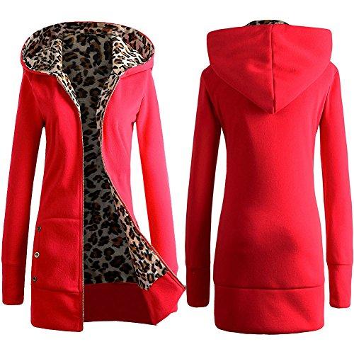 Sudadera con Capucha Mujer Abrigo de Invierno Estampado de Leopardo Chaqueta Manga Larga Cremallera Señoras Hoodie Pullover Tops Blusa con Bolsillos