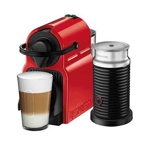 NESPRESSO  Cafetera Inissia con Espumador de leche, Color Roja (Incluye obsequio de 14 cápsulas de café)