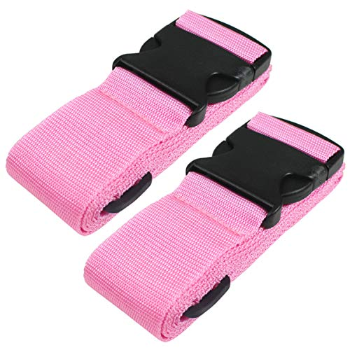 Heavy Duty Luggage Straps for Suitcases Packing Belts Travel Accessories Adjustable Bag Strap 2 Pack Pink