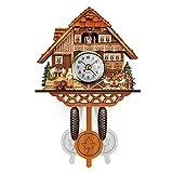 GuoYQ Horloge Murale Décoration Intérieure, Horloge Chalet Coucou, Horloge Murale en Bois avec Coucou en Forme d'oiseau Forêt Noire Style Nordique rétro