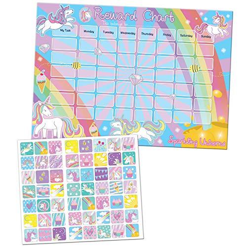Paper Projects- Grafico di ricompensa con unicorni Scintillanti e Adesivi riutilizzabili, 01.70.30.018