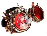 4sold Loupe Steampunk Black Cyber Gafas Rave Goth Vintage Victorian como Gafas de Sol Oro Antiguo Cobre Gafas Transparentes Vintage (Copper Studs Eye Loupes)