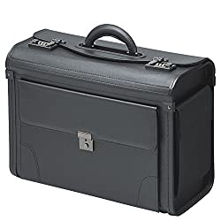 Pilot case Briefcase Black leatherette case with combination lock Front pocket Side pockets