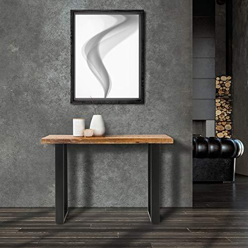 WOMO-DESIGN Table de Salle à Manger Style Industriel - 115x40x77 cm - Bois de Manguier Massif et Acier - Table Console Cuisine Dîner de Repas d'Appoint Console Canapé Meuble Salon Mobilier à Maison