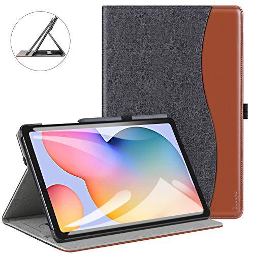 ZtotopCase Hülle für Samsung Galaxy Tab S6 Lite 10.4 2020, Premium Leder Business Folio Bezug mit Ständer, Tasche und Automatischer Wake/Sleep für Samsung S6 Lite 10,4 Zoll 2020 Tablet -Demin Schwarz