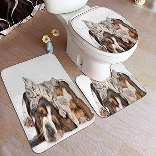 GUVICINIR Alfombrillas de baño Set 3 Piezas,Gracioso Gatito acostado sobre los Cachorros...