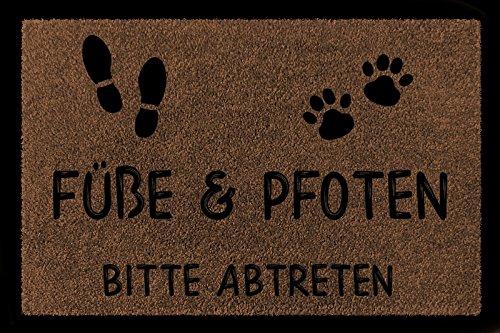 Interluxe FUSSMATTE Türmatte FÜSSE & Pfoten Bitte ABTRETEN Haustier Hund Katze Eingang Braun