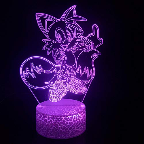 3D Illusion LED Lamp for Kids Lamp Animal Cartoon Cat Sonic's Best Friend Tails Miles Prower Best Present for Child USB Led Night Light Lamp for Birthday