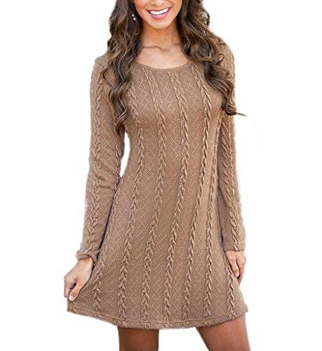 potente para casa Vestido de punto Mujer Elegante Vintage Otoño Invierno Vestido Suéter Moda…