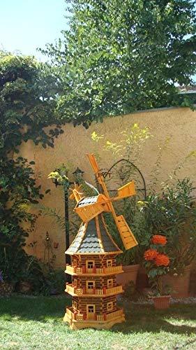 BTV Windmühle 200 cm, wetterfest,robust mit Bitumen, MIT WINDFAHNE Windrad-Seitenruder, dreistöckig, WIRUND200gr-OS,Windmühlen Garten, ohne o. mit Solarbeleuchtung, für Außen 2,00 m groß grün grau