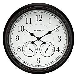 AcuRite 75473 24-inch Weathered Black Wall Clock with Thermometer and Hygrometer