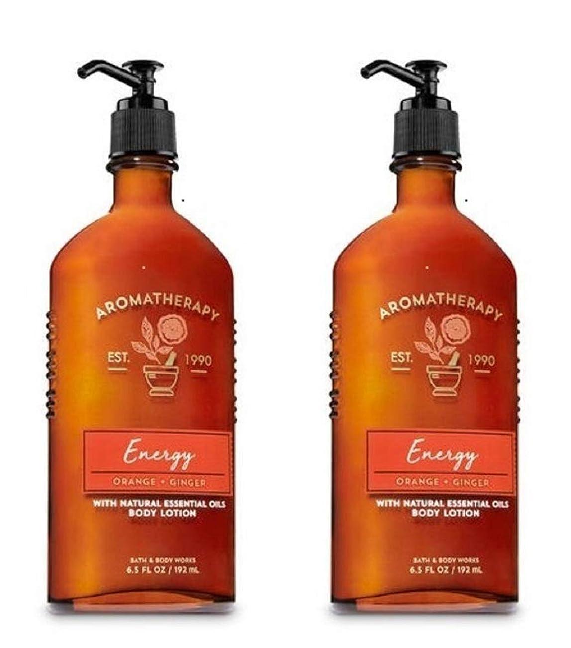 個性量でバーガーBath & Body Works アロマエナジー - オレンジ+ジンジャーボディローション、6.5液量オンス、2枚組
