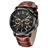 LIGE Reloj de Pulsera para Hombre Deportivo Resistente al Agua cronógrafo de Lujo de Cuarzo Estilo Militar Casual Color marrón Piel con Fecha Color Negro