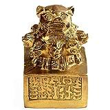 QULONG Statues de Sceau Chinois de Lions à Neuf têtes, Figurine d'accessoires de prospérité de décor de Feng Shui en Laiton Pur, Sculpture de Maison et de Bureau