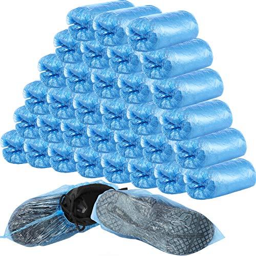 400 Stücke (200 Paare) Einweg Überschuhe und Schuhüberzug für Boden, Teppich, Schuhschutz, Langlebig, Rutschfest (Blau)