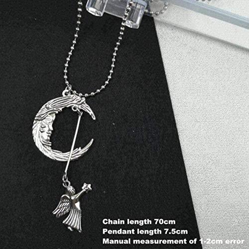 huangshuhua Collar Europeo y Americano Retro en Forma de corazón Collar con Colgante de Amor Cadena de Bolas de Acero Inoxidable Cool Girl Disco Collar de Plata Regalo para Mujeres y niñas