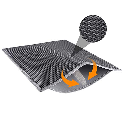 """Waretary Professional Cat Litter Mat, 30""""x 24"""" Honeycomb Double Layer Waterproof Urine Proof Trapper Mat for Litter Boxes, Litter Trapping Pad Large Size Easy Clean Scatter Control"""