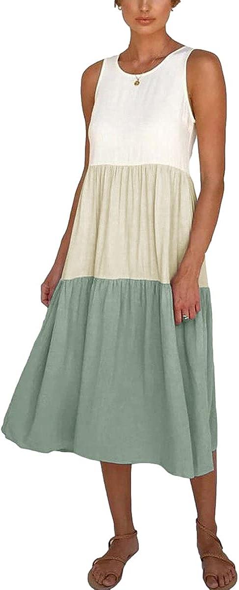Partvece Women's Stitching Dress Sleeveless Summer Casual Loose Dress Crewneck Color Block Swing Dress