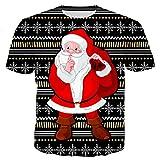 DerDer Suéter unisex con estampado navideño 3D de Papá Noel suelto, cuello redondo