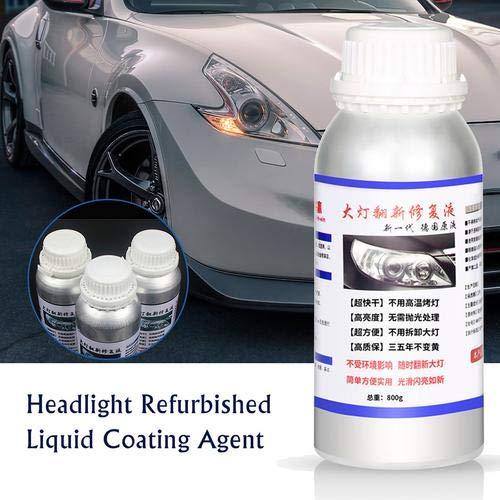 seawe Kit di Riparazione Fari per Auto, Liquido per Restauro Fari da 800 Ml Kit di Riparazione per Fari per Auto Kit Fluido per Riparazione Rinnovati Agente di Rinnovamento della Lampada Vetro
