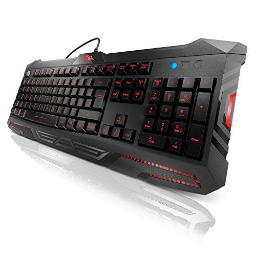 CSL - USB Gaming Tastatur beleuchtet - Nebukad Keyboard - QWERTZ Layout DE - inkl. Farbwechseltaste - Verschiedene Funktionstasten - schwarz