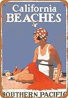 2個 8 x 12 cm メタル サイン - 1923 年サザン パシフィック鉄道からカリフォルニア ビーチへ メタルプレート レトロ アメリカン ブリキ 看板