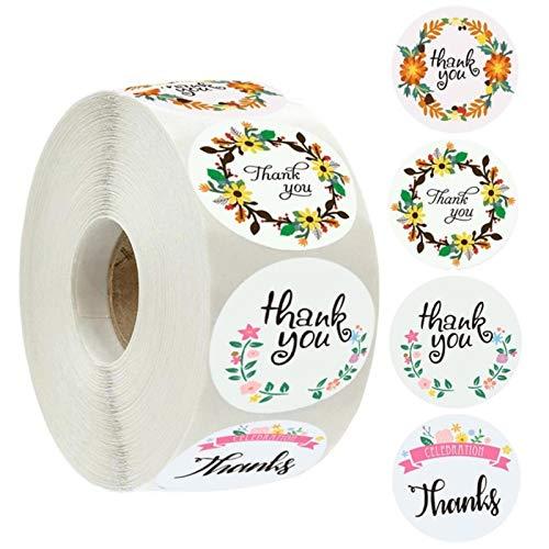 ZMKW Etiquetas engomadas Florales de Las Felices Fiestas de 1 Pulgada Etiquetas Redondas del Sello para el Paquete Etiqueta engomada de la papelería Scrapbooking Stickers-A22-100Pcs