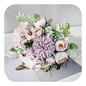 Artificial Flowers Vase| 7 Heads Hydrangea Bouquet Silk Blooming Fake Peony Bridal Hand Flower Roses Wedding Centerpieces Decor,Purple Daisy