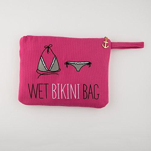 Damen bestickter Waffel Wet Bikini Tasche Dunkelpink