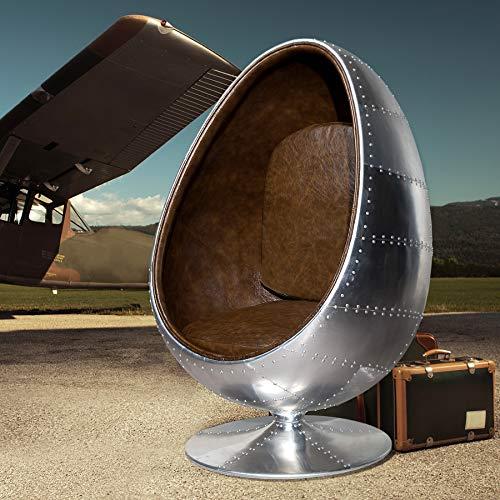 Invicta Interior Design Lounge Sessel Sitzei Space Egg Aluminium Silber Vintage braun Polstersessel drehbar in Ei-Form