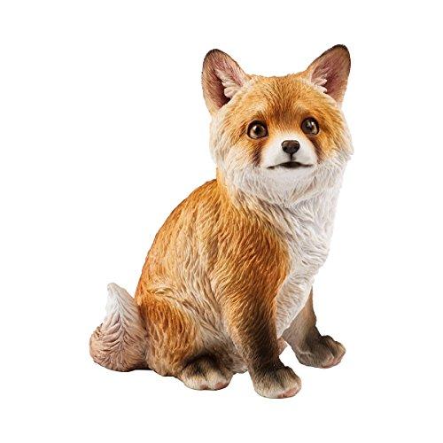 Unbekannt TRI Fuchs Baby, Dekofigur, Gartenfigur, Tierfigur, Tierbaby, Dekoration, Balkondeko, Herbstdeko, wetterfest, Kunststoff, 15 x 10,5 x 21 cm