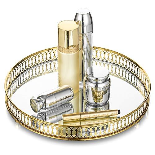 32cm Durchmesser Metall Verspiegelt Verzierten Dekorativen Tablett, Kerzenhalter, Snake Cupcake Tablett, Tischablage, Obsttabletts, Kosmetik Schmuck Organizer, Gold, Runde