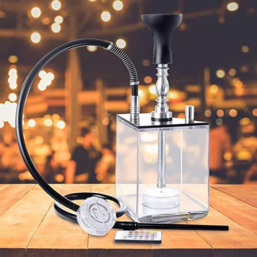 KKTECT Shisha Set, Würfel Shisha Komplettset, Arabische Wasserpfeife Acryl Square Box transparenter Topf Bunter LED Shisha 2 Schlauchwürfel mit Fernbedienung für den Heim- und Partygebrauch